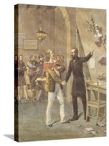 Mazzini and Garibaldi Meeting in Marseille, 1833--Stretched Canvas Print