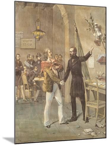 Mazzini and Garibaldi Meeting in Marseille, 1833--Mounted Giclee Print