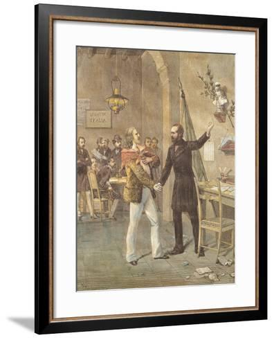 Mazzini and Garibaldi Meeting in Marseille, 1833--Framed Art Print