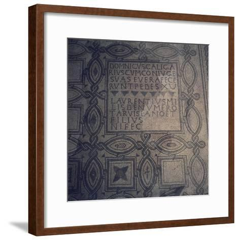 Geometric Patterns and Inscriptions, Mosaic Floor, Basilica of St Euphemia, Grado, Italy--Framed Art Print