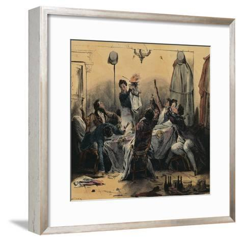 How Young Men Do their Duty in Paris, Caricature--Framed Art Print
