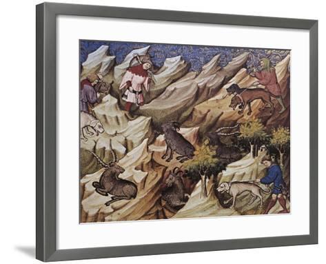 Hunting Scene, Illustration from Livre De Chasse, Medieval Treatise on Hunting--Framed Art Print