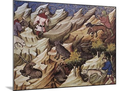 Hunting Scene, Illustration from Livre De Chasse, Medieval Treatise on Hunting--Mounted Giclee Print