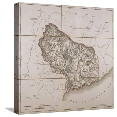 From the Maritime Alps District, Map from the National Atlas of France, Paris 1802.--Stretched Canvas Print