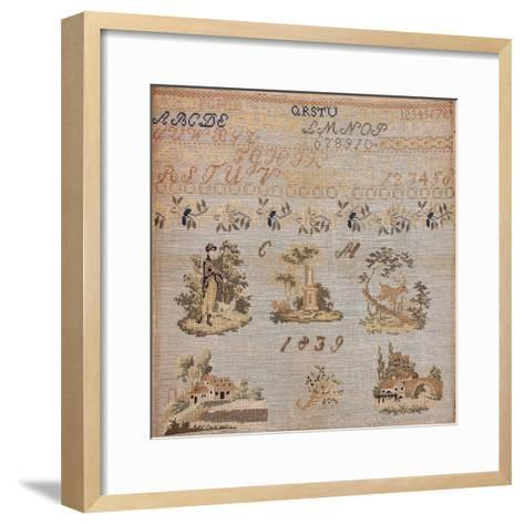 Beginners Work, Embroidered in Silk Cross-Stitch on Linen with Initials CM and Gold Glass Beads--Framed Art Print