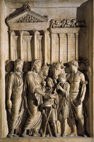 Relief Representing Marcus Aurelius Sacrificing before Temple of Jupiter on Capitol, 176-180 A.D.--Stretched Canvas Print