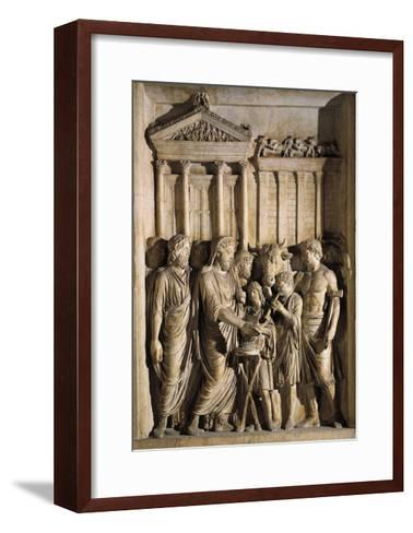 Relief Representing Marcus Aurelius Sacrificing before Temple of Jupiter on Capitol, 176-180 A.D.--Framed Art Print