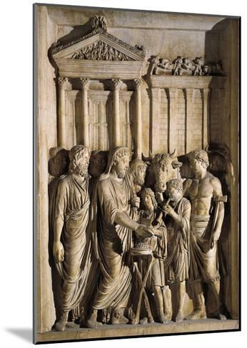 Relief Representing Marcus Aurelius Sacrificing before Temple of Jupiter on Capitol, 176-180 A.D.--Mounted Giclee Print