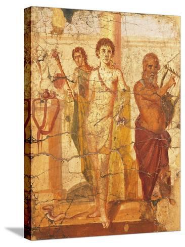Fresco Depicting Hermaphrodite and Silenus, House of Centenary, Pompeii, Campania--Stretched Canvas Print