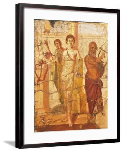 Fresco Depicting Hermaphrodite and Silenus, House of Centenary, Pompeii, Campania--Framed Art Print