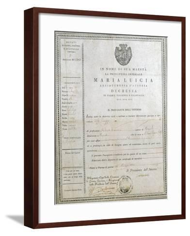 Italy, Milan, First Passport of Giuseppe Verdi--Framed Art Print
