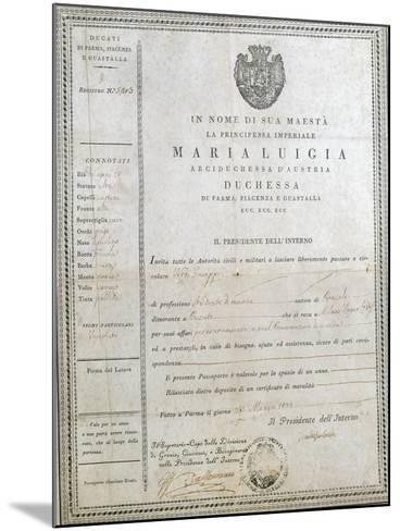 Italy, Milan, First Passport of Giuseppe Verdi--Mounted Giclee Print