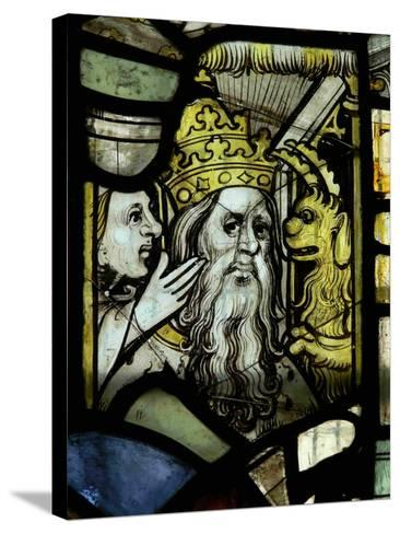 Window S3 Depicting a Pope Receiving Counsel from a Woman Egged-On by a Demon--Stretched Canvas Print