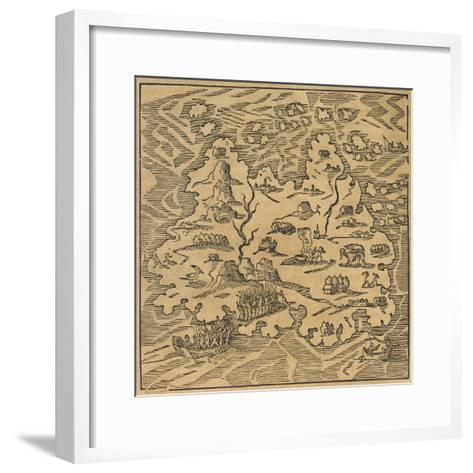 Map of Trinity Island in the Antilles, from Universal Cosmography by Andre Thevet, 1575--Framed Art Print
