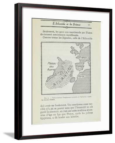 Map Showing Probable Location of Atlantis From, Atlantis, Does it Exist?--Framed Art Print