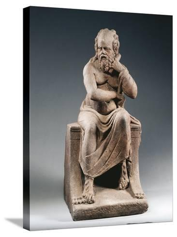Brown Terracotta Statuette of Philosopher Pittacus of Mytilene, from House of Julia Felix, Pompei--Stretched Canvas Print