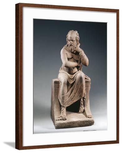 Brown Terracotta Statuette of Philosopher Pittacus of Mytilene, from House of Julia Felix, Pompei--Framed Art Print