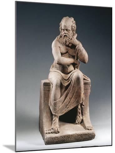 Brown Terracotta Statuette of Philosopher Pittacus of Mytilene, from House of Julia Felix, Pompei--Mounted Giclee Print