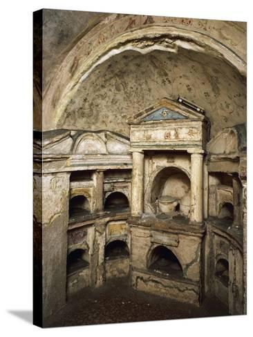 Interior of Columbarium of Pomponius Hylas AD, Porta Latina on Via Appia, Rome, Italy AD--Stretched Canvas Print