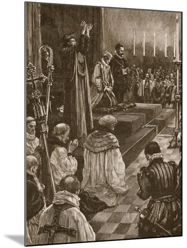 Cardinal Pole Reconciling the Realm of England to the Roman Communion--Mounted Giclee Print