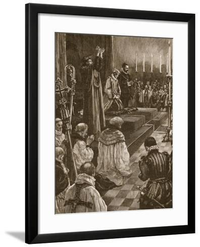 Cardinal Pole Reconciling the Realm of England to the Roman Communion--Framed Art Print