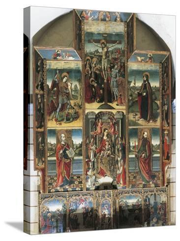 Crucifixion, Madonna Enthroned and Saints, Right Chapel Altarpiece by Master of Castelsardo--Stretched Canvas Print