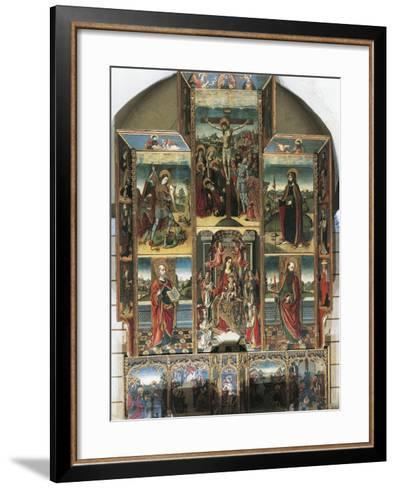 Crucifixion, Madonna Enthroned and Saints, Right Chapel Altarpiece by Master of Castelsardo--Framed Art Print