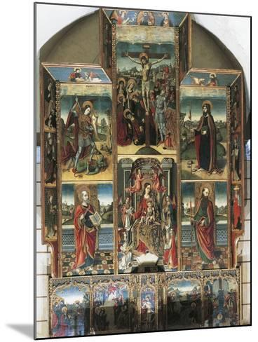Crucifixion, Madonna Enthroned and Saints, Right Chapel Altarpiece by Master of Castelsardo--Mounted Giclee Print