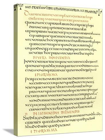 Page from the Epigrams of St Prosper--Stretched Canvas Print