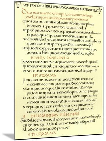 Page from the Epigrams of St Prosper--Mounted Giclee Print