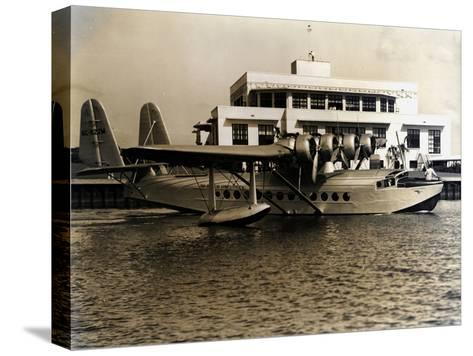 A Seaplane at the Pan Am Seaplane Base, Dinner Key, Florida, 1930s--Stretched Canvas Print