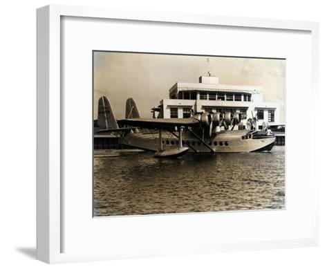 A Seaplane at the Pan Am Seaplane Base, Dinner Key, Florida, 1930s--Framed Art Print