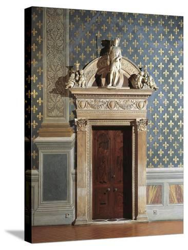 Door of Hall of Justice, Palazzo Vecchio, Florence, Italy--Stretched Canvas Print
