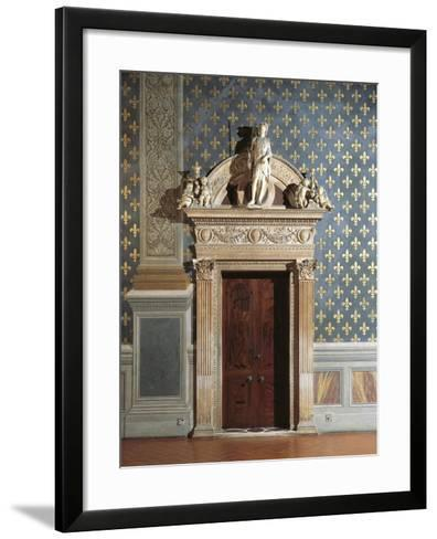 Door of Hall of Justice, Palazzo Vecchio, Florence, Italy--Framed Art Print
