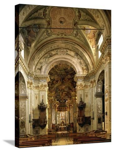 Interior of Basilica of Assumption Including High Altar, Sacred Mountain of Varallo Sesia, Italy--Stretched Canvas Print