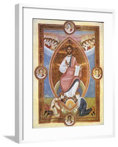 Miniature Depicting Blessing Christ Within an Almond-Shaped Aureola--Framed Art Print