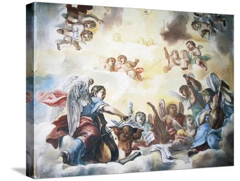 Putti and Musicians, Frescoed Ceiling, Pernstejn Castle--Stretched Canvas Print
