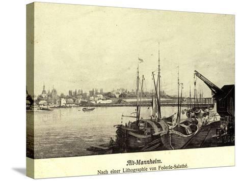 Künstler Federle, Salathé, Mannheim, Altstadt, Hafen--Stretched Canvas Print