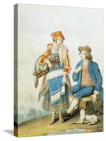 Men's and Women's Fashion Plate Depicting Typical of Pietracamela in Abruzzo Region--Stretched Canvas Print