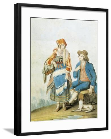 Men's and Women's Fashion Plate Depicting Typical of Pietracamela in Abruzzo Region--Framed Art Print