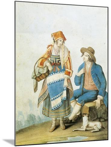Men's and Women's Fashion Plate Depicting Typical of Pietracamela in Abruzzo Region--Mounted Giclee Print