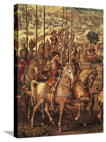 Charles V Reviewing His Troops at Barcelona Prior to His Expedition Against Tunis--Stretched Canvas Print