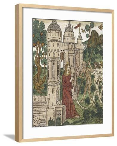 Adam and Eve Being Expelled from Paradise and Killed with a Scythe, from De Civitate Dei--Framed Art Print