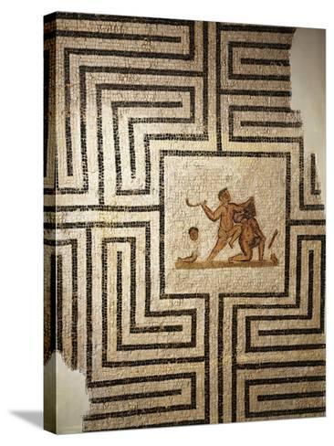 Tunisia, Thuburbo Majus, Mosaic Work Depicting Theseus Against the Minotaur in the Labyrinth--Stretched Canvas Print