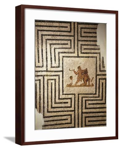 Tunisia, Thuburbo Majus, Mosaic Work Depicting Theseus Against the Minotaur in the Labyrinth--Framed Art Print