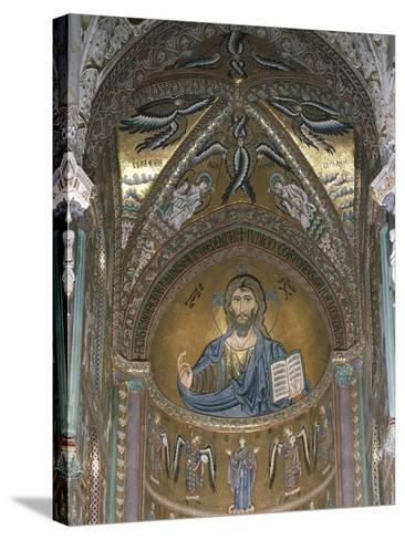 Christ Pantocrator, Detail of Central Apse Mosaic, Cefalu' Cathedral, Sicily, Italy, 12th Century--Stretched Canvas Print