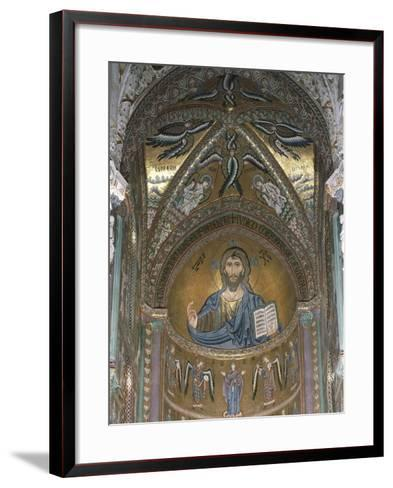 Christ Pantocrator, Detail of Central Apse Mosaic, Cefalu' Cathedral, Sicily, Italy, 12th Century--Framed Art Print