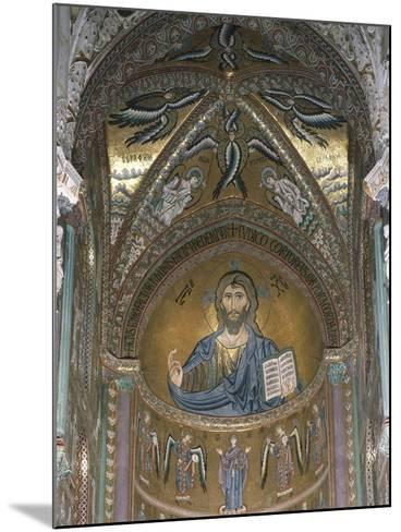 Christ Pantocrator, Detail of Central Apse Mosaic, Cefalu' Cathedral, Sicily, Italy, 12th Century--Mounted Giclee Print
