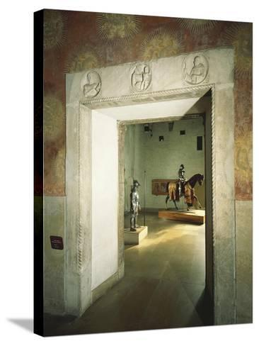 Italy, Milan, Sforza Castle, Colombine Hall, Detail from Door with Marble Reliefs--Stretched Canvas Print