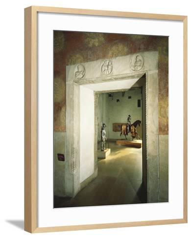 Italy, Milan, Sforza Castle, Colombine Hall, Detail from Door with Marble Reliefs--Framed Art Print